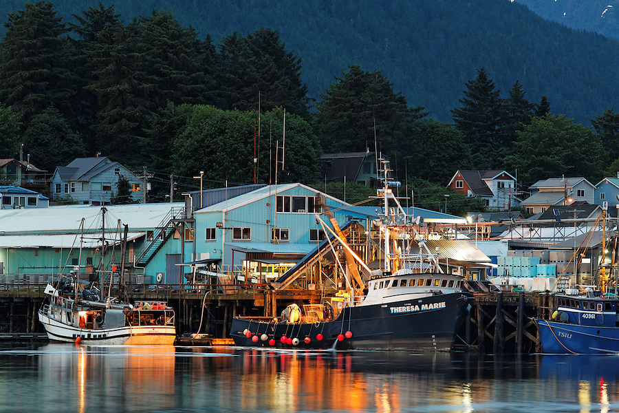 Fishing boats at dock in Sitka Harbor, Alaska, USA