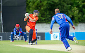 ICC World T20 Qualifier - GROUP B MATCH - NETHERLANDS V AFGHANISTAN at Grange CC, Edinburgh - Ben Cooper gets the ball away to go on and top-score for the Netherlands — credit @ICC/Donald MacLeod - 09.07.15 - 07702 319 738 -clanmacleod@btinternet.com - www.donald-macleod.com