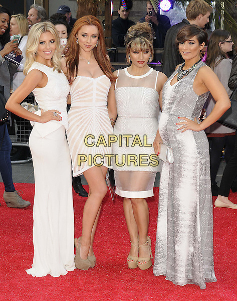 "Mollie King, Una Healy, Vanessa White, Frankie Sandford from The Saturdays.The European Premiere of ""The Hangover Part 3"", Empire Leicester Square, London, England..22nd May 2013.full length white sheer pregnant hand on hip clutch bag band group grey gray snakeskin print top sleeveless beige platform shoes side .CAP/CAN.©Can Nguyen/Capital Pictures."