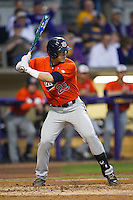 Auburn Tigers shortstop Dan Glevenyak #29 at bat against the LSU Tigers in the NCAA baseball game on March 23, 2013 at Alex Box Stadium in Baton Rouge, Louisiana. LSU defeated Auburn 5-1. (Andrew Woolley/Four Seam Images).
