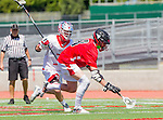 Palos Verdes, CA 03/26/16 - Sander Lush (San Clemente #8) and Kyle Mcbride (Palos Verdes #3) in action during the CIF Boys Lacrosse game between San Clemente Tritons and the Palos Verdes Seakings at Palos Verdes High School.  Palos Verdes defeated San Clemente 11-6