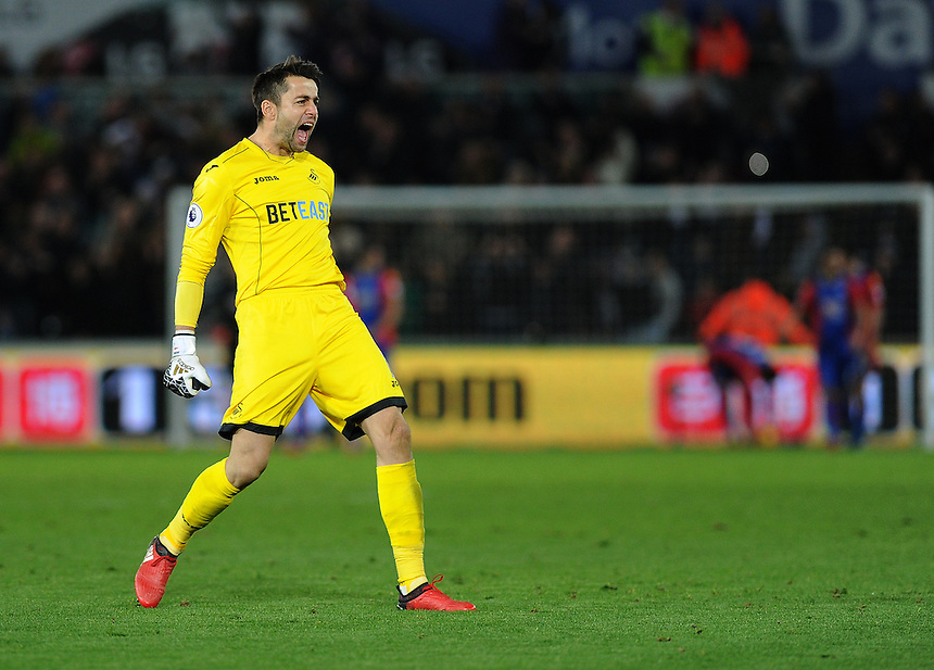 Swansea City's Lukasz Fabianski celebrates Leroy Fer (not in frame) goal <br /> <br /> Photographer Ashley Crowden/CameraSport<br /> <br /> The Premier League - Swansea City v Crystal Palace - Saturday 26th November 2016 - Liberty Stadium - Swansea <br /> <br /> World Copyright &copy; 2016 CameraSport. All rights reserved. 43 Linden Ave. Countesthorpe. Leicester. England. LE8 5PG - Tel: +44 (0) 116 277 4147 - admin@camerasport.com - www.camerasport.com