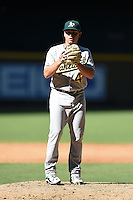Oakland Athletics pitcher Jerad Grundy (47) during an Instructional League game against the Arizona Diamondbacks on October 10, 2014 at Chase Field in Phoenix, Arizona.  (Mike Janes/Four Seam Images)