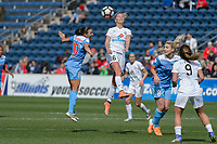 Bridgeview, IL - Saturday April 22, 2017: Vanessa DiBernardo, Katie Bowen during a regular season National Women's Soccer League (NWSL) match between the Chicago Red Stars and FC Kansas City at Toyota Park.