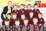 First day: Enjoying their first day at school were the junior infant pupils of Scoil Realta na Maidine on Monday morning. Pictured with teacher Deirdre O'Brien were front l-r Finley O'Brien, Darragh Lynch, Cillian Rodriguez and Dylan McDonagh. Middle l-r Thomas O'Connor, Nathan McCarthy, Blake Evans, Bryan McEneaney and Eoin Enright. Back l-r Conor Leahy, Kajtek Wojciak, Lukasz Nowak and Aaron Loughnane.