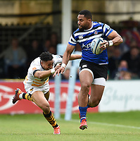 Joe Cokanasiga of Bath Rugby gets past Marcus Watson of Wasps. Gallagher Premiership match, between Bath Rugby and Wasps on May 5, 2019 at the Recreation Ground in Bath, England. Photo by: Patrick Khachfe / Onside Images