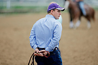 LOUISVILLE, KENTUCKY - APRIL 30: Assistant trainer Norm Casse watches morning workouts at Churchill Downs on April 30, 2017 in Louisville, Kentucky. (Photo by Jon Durr/Eclipse Sportswire/Getty Images)
