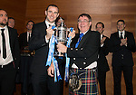 St Johnstone FC Scottish Cup Celebration Dinner at Perth Concert Hall...01.02.15<br /> Owner and former Chairman Geoff Brown hands over the Scottish Cup to captain Dave Mackay to end the evening<br /> Picture by Graeme Hart.<br /> Copyright Perthshire Picture Agency<br /> Tel: 01738 623350  Mobile: 07990 594431