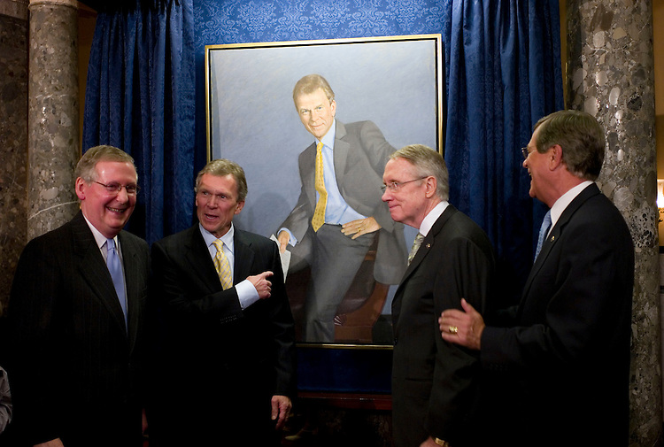 WASHINGTON, DC - April 22: Senate Minority Leader Mitch McConnell, R-Ky., former Senate Majority Leader Tom Daschle, D-S.D., Senate Majority Leader Harry Reid, D-Nev., and former Senate Majority Leader Trent Lott, R-Miss, take their places for a photo during a ceremony unveiling a portrait of Daschle. The painting is by Aaron Shikler. (Photo by Scott J. Ferrell/Congressional Quarterly)