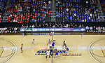 SIOUX FALLS, SD - MARCH 10: The South Dakota Coyotes jump the opening tip against South Dakota State Jackrabbits during the women's championship game at the 2020 Summit League Basketball Tournament in Sioux Falls, SD. (Photo by Richard Carlson/Inertia)