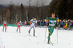 11 MAR 2011: Erik Bjornsen (25) of the University of Alaska - Anchorage leads Vegard Kjoelhamar (4) of the University of Colorado in the final sprint during the men's 20km Classical Cross Country race during the 2011 NCAA Men and Women's Division I Skiing Championship held Stowe Mountain Resort and Trapp Family Lodge in Stowe, VT. Bjornsen placed 2nd to take silver, Kjoelhamar placed 3rd to take bronze. ©Brett Wilhelm/NCAA Photos
