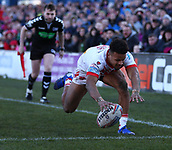 10th February 2019, Belle Vue, Wakefield, England; Betfred Super League rugby, Wakefield Trinity versus St Helens; Regan Grace of St Helens scores a try to make it 12-14