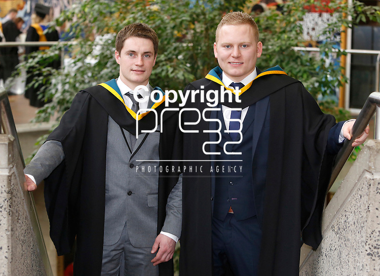 REPRO FREE<br /> 21/01/2015<br /> Geared Ryan, Annacarty, Co Tipperary and Kevin Johnston, Loughmore Co Tipperary who graduated with BEd in Engineering and Woodwork Teaching as the University of Limerick continues three days of Winter conferring ceremonies which will see 1831 students conferring, including 74 PhDs. <br /> UL President, Professor Don Barry highlighted the increasing growth in demand for UL graduates by employers and the institution&rsquo;s position as Sunday Times University of the Year. <br /> Picture: Don Moloney / Press 22