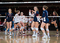 STANFORD, CA - December 1, 2018: Holly Campbell, Kate Formico, Jenna Gray, Morgan Hentz at Maples Pavilion. The Stanford Cardinal defeated Loyola Marymount 25-20, 25-15, 25-17 in the second round of the NCAA tournament.