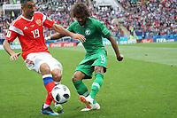 Yasir Al-Shahrani (Saudi-Arabien) gegen Alexander Samedov (Russland, Russia) - 14.06.2018: Russland vs. Saudi Arabien, Eröffnungsspiel der WM2018, Luzhniki Stadium Moskau