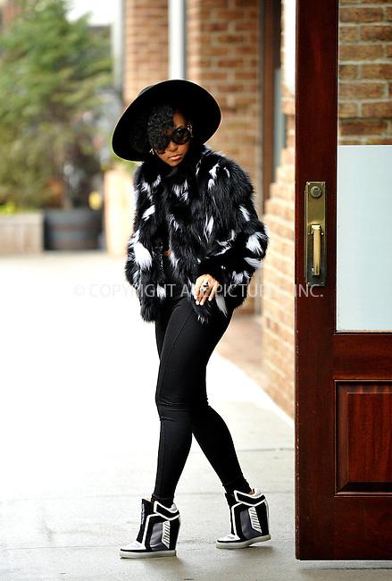 WWW.ACEPIXS.COM<br /> <br /> March 26 2015, New York City<br /> <br /> Musician Janelle Monae leaving a downtown hotel on March 26 2015 in New York City<br /> <br /> By Line: Curtis Means/ACE Pictures<br /> <br /> <br /> ACE Pictures, Inc.<br /> tel: 646 769 0430<br /> Email: info@acepixs.com<br /> www.acepixs.com