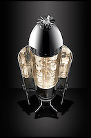 BNPS.co.UK (01202 558833)<br /> Pic: FallenFurniture/BNPS<br /> <br /> &pound;50,000 drinks cabinet - Cost's a bomb...and once was one - former RAF cluster bomb.<br /> <br /> Aircraft scrap turn's into creative furniture.<br /> <br /> A British company has hit upon the unique idea of turning scrapped aircraft into stunning items of furniture.<br /> <br /> Fallen Furniture take's the wheels, engines, wings and even bomb housings from old aeroplanes and turn's them into highly polished 'statement peices' for contempary homes and office's.<br /> <br /> Director Ben Tucker says, 'Aircraft are made of the ultimate materials to an exacting standard, and its a pleasure to give these beautiful items a second life as bespoke furniture.'