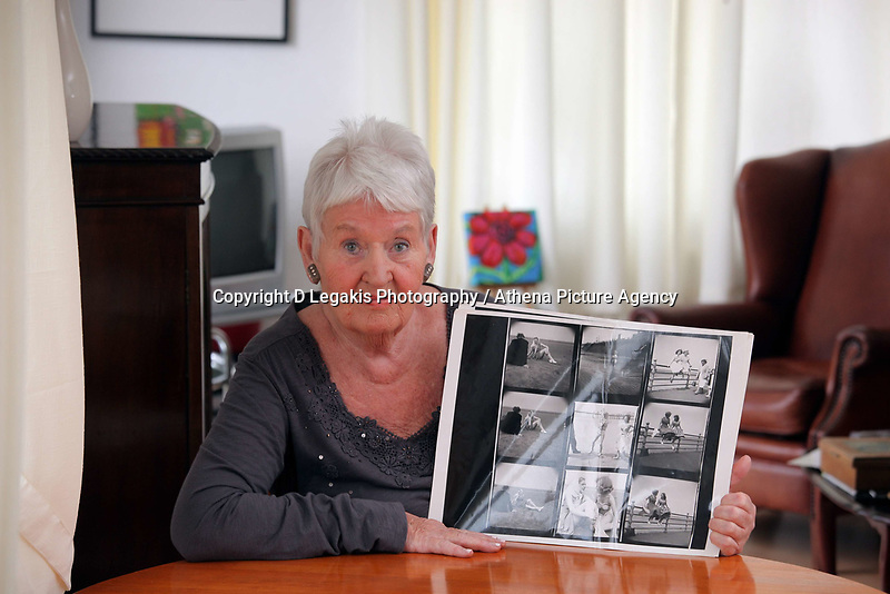 Pictured: 77 year old former Tiller girl Pat Stewart  with some of the original contact sheets given to her by Bert Hardy. She was photographed by him in what it has become an iconic picture at Blackpool seafront in the 50ies but she is now living at a static caravan in Llantwit Major in south Wales. Monday 20 June 2011