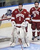 Sam Brittain (DU - 1), Gabe Levin (DU - 9) - The Boston College Eagles defeated the University of Denver Pioneers 6-2 in their NCAA Northeast Regional semi-final on Saturday, March 29, 2014, at the DCU Center in Worcester, Massachusetts.