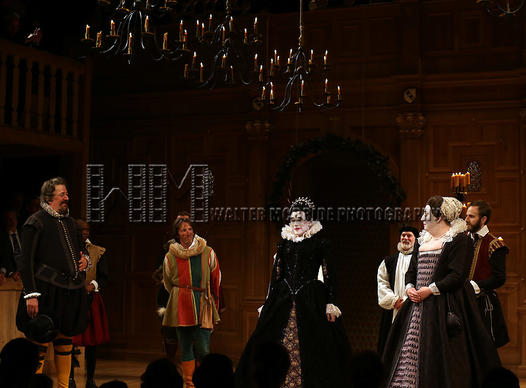 Stephen Fry, Mark Rylance, Paul Chahidi and the Cast during the Broadway Opening Night Performance Curtain Call for 'Twelfth Night' at the Belasco Theatre on November 10, 2013 in New York City.