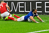 February 1st 2019, St Denis, Paris, France: 6 Nations rugby tournament, France versus Wales;  Yoann Huget (fr) breaks along the wing to score his try as George North arrives late