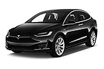 2018 Tesla Model X 100D 5 Door SUV angular front stock photos of front three quarter view