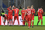 02.12.2018, Schauinsland-Reisen-Arena, Duisburg, GER, 2. FBL, MSV Duisburg vs. Holstein Kiel, DFL regulations prohibit any use of photographs as image sequences and/or quasi-video<br /> <br /> im Bild die Mannschaft von Kiel Jubel / Freude / Emotion / Torjubel / Torschuetze zum 0:2 Janni-Luca Serra (#23, Holstein Kiel) <br /> <br /> Foto &copy; nordphoto/Mauelshagen