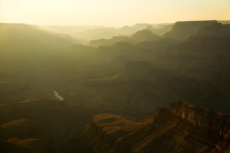 Sunset at Lipan Point with views of Solomon Temple, Vishnu Temple, and the Colorado River from the South Rim of the Grand Canyon