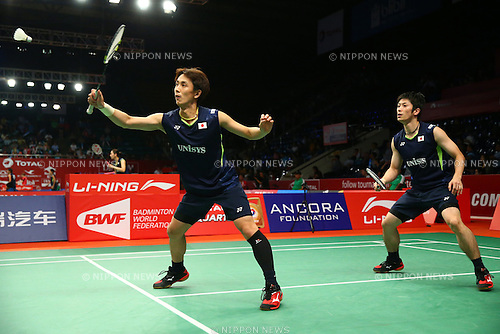 Kenta Kazuno & Kazushi Yamada (JPN), AUGUST 12, 2015 - Badminton : TOTAL BWF World Championships 2015 Men's Doubles 2nd round match at Istora Senayan Arena, Jakarta, Indonesia. (Photo by Shingo Ito/AFLO SPORT)