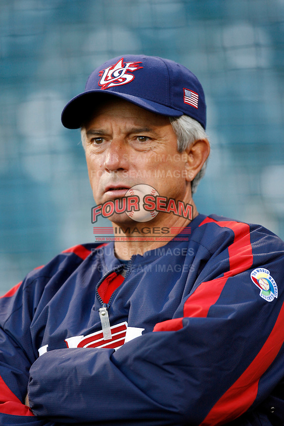 Buck Martinez, manager of the USA team, during the World Baseball Championships at Angel Stadium in Anaheim,California on March 13, 2006. Photo by Larry Goren/Four Seam Images