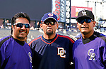 25 August 2007:  Colorado Rockies coach Vinny Castilla (left), catcher Geronimo Gil (right) and Washington Nationals pitcher Luis Ayala (center) pose for a quick photo prior to a game between the Rockies and the Washington Nationals at Coors Field in Denver, Colorado. The Rockies defeated the Nationals 5-1 in the second game of their 3-game series...Mandatory Photo Credit: Ed Wolfstein Photo
