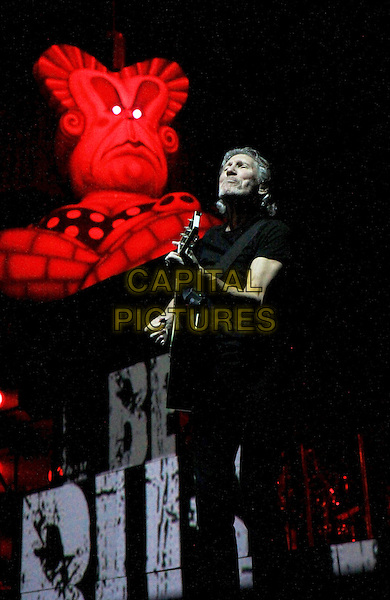 "Roger Waters brought Pink Floyd's ""The Wall"" tour to Atlanta, where he performed the entire album from start to finish for a packed house of Pink Floyd fans, Atlanta, GA., USA..June 13th, 2012.on stage in concert live gig performance music full length black t-shirt guitar   .CAP/ADM/DH.©Dan Harr/AdMedia/Capital Pictures."