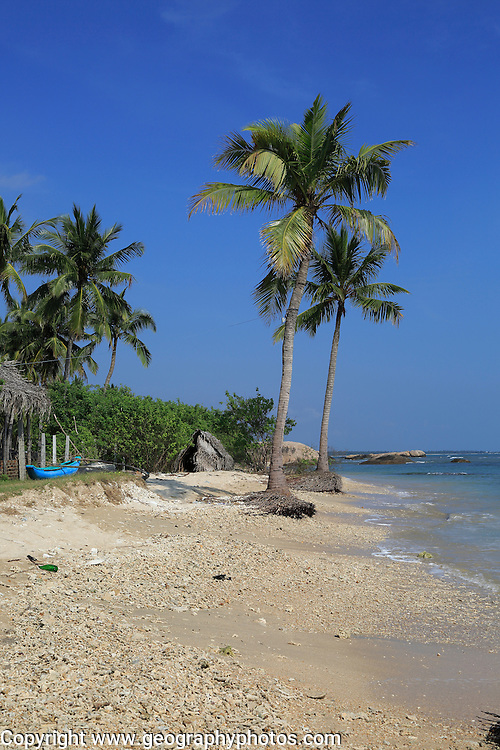 Ocean and sandy tropical beach at Pasikudah Bay, Eastern Province, Sri Lanka, Asia