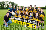 Trainers Moss Leane, Pat Conway and Dave Fleming and their Currow team team who are in training for the upcoming Feile competition front row l-r:  Fiona Brosnan, Caitlin Twomey, Ciara Fitzgerald, Grace Daly, Danielle Moriarty, Emma Buckley. Back row: Alana Butler, Maria Daly, Ellen Dennehy, Cait O'Mahony, Orla O'Sullivan, Lauren Butler, Mary Keane, Caragh Fleming