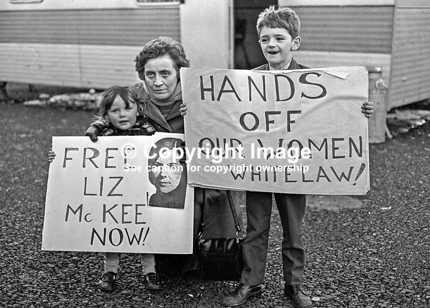 Marie Drumm, president, Provisional Sinn Fein, with two children, protests at Long Kesh against the internment of the first woman detainee, Liz McKee. 197301260035.<br /> <br /> Copyright Image from Victor Patterson, 54 Dorchester Park, Belfast, UK, BT9 6RJ<br /> <br /> t1: +44 28 9066 1296 (from Rep of Ireland 048 9066 1296)<br /> t2: +44 28 9002 2446 (from Rep of Ireland 048 9002 2446)<br /> m: +44 7802 353836<br /> <br /> e1: victorpatterson@me.com<br /> e2: victorpatterson@gmail.com<br /> <br /> The use of my copyright images is subject to my Terms &amp; Conditions.<br /> <br /> It is IMPORTANT that you familiarise yourself with them. They are available on my website at www.victorpatterson.com.<br /> <br /> None of my copyright images may be used on a website unless they are visibly watermarked, i.e. &copy; Victor Patterson within the body of the visible image. Metadata denoting my copyright must NOT be deleted. <br /> <br /> Web use (maximum size - 300 kb) is extra at currently recommended NUJ rates.