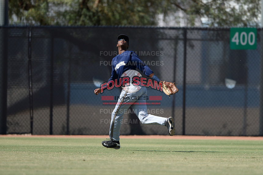 Milwaukee Brewers outfielder Carlos Belonis (27) during an Instructional League game against the Oakland Athletics on October 10, 2013 at Maryvale Baseball Park Training Complex in Phoenix, Arizona.  (Mike Janes/Four Seam Images)