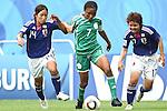 17.07.2010,  Augsburg, GER, FIFA U20 Womens Worldcup, Nigeria vs Japan,  im Bild Emi NAKAJIMA  (Japan Nr.14) Esther SUNDAY (Nigeria Nr.7) und Shoko YAMADA  (Japan Nr.17) im Kampf, Foto: nph /  Straubmeier