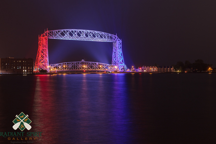 Duluth's Aerial Lift Bridge was decked out in red, white, and blue for Independence Day celebrations. The Aerial Lift Bridge is one of the most-recognized iconic landmarks of Duluth. In a mere 55 seconds, the bridge rises to 138 feet, making it the quickest and biggest lift bridge in the world.