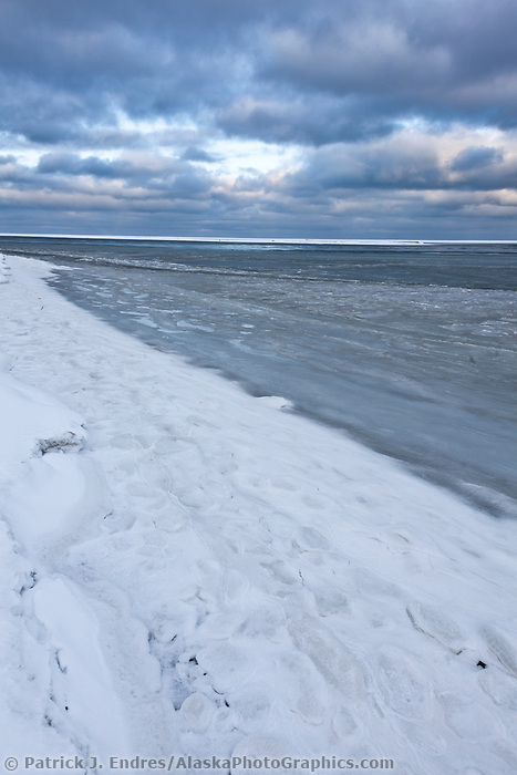 Water along the shore of Barter Island on the Beaufort sea begins to freeze.