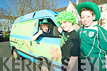 Scooby's Mystery Mobile: Helen Kelliher with Mikie Finnegan and Gavin O'Reilly in the St Patrick's Day parade on Tuesday.