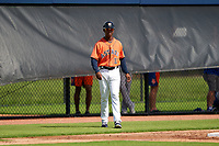 GCL Astros manager Wladimir Sutil (11) during a Gulf Coast League game against the GCL Mets on August 10, 2019 at FITTEAM Ballpark of the Palm Beaches Training Complex in Palm Beach, Florida.  GCL Astros defeated the GCL Mets 8-6.  (Mike Janes/Four Seam Images)