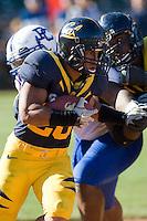 September 17, 2011:  California's Isi Sofele runs down the field during a game against Presbyterian Football at AT&T Park, San Francisco, Ca  California Defeated Presbyterian 63 - 12