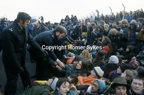 Blockade of USAF nuclear cruise missile air base at Greenham Common Berkshire England 1983