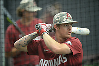 NWA Democrat-Gazette/ANDY SHUPE<br /> Arkansas shortstop Casey Martin takes batting practice Friday, June 7, 2019, during practice in The Fowler Family Baseball and Track Training Center ahead of today's NCAA Super Regional game at Baum-Walker Stadium in Fayetteville. Visit nwadg.com/photos to see more photographs from the practices.