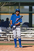 Chicago Cubs center fielder Jose Gutierrez (21) during a Minor League Spring Training game against the Los Angeles Angels at Sloan Park on March 20, 2018 in Mesa, Arizona. (Zachary Lucy/Four Seam Images)