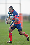 Sio Petelo runs the ball back after retrieving the Waiuku kick. Counties Manukau Premier rugby game between Waiuku & Ardmore Marist played at Waiuku on Saturday May 10th 2008..Ardmore Marist won 27 - 6 after leading 10 - 6 at halftime.