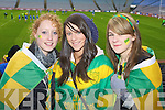 Katie Spillane, Aideen O'Mahony and Jessica Hoare Castkegregory fans at the All Ireland Junior Club Championship at Croke park on Sunday....