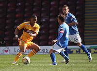 Chris Humphrey beats Jody Morris in the Motherwell v St Johnstone Clydesdale Bank Scottish Premier League match played at Fir Park, Motherwell on 28.4.12.