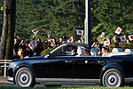 Japanese Empress Masako waves to spectators during the royal motorcade in Tokyo, Japan on Sunday, November 10, 2019. (Photo by AFLO)