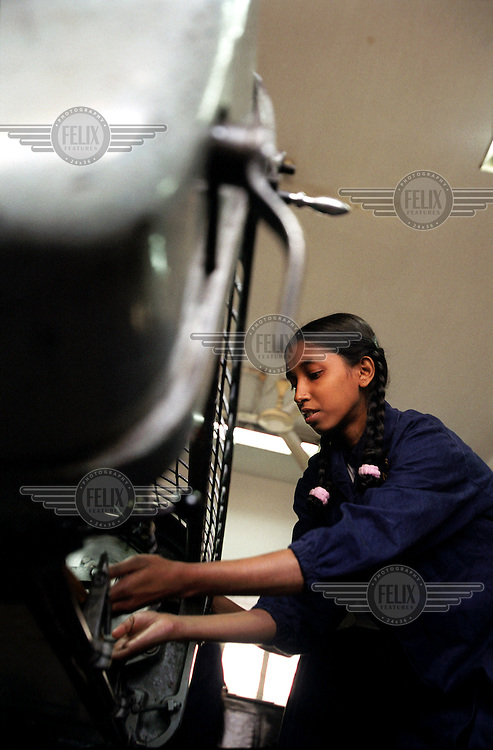 A girl studying at a vocational training school.